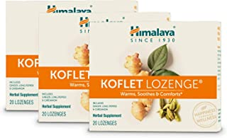 Himalaya Koflet Lozenges, Herbal Cough Drop with Ginger, Long Pepper and Cardamom for Bronchial Soothing Comfort, 130 mg, 20 Lozenges (3 Pack)