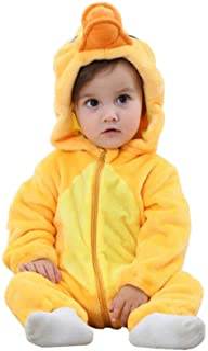 Pelele para bebé recién nacido, unisex, diseño de animales, con cremallera y capucha, mono de franela para otoño e invierno Pato amarillo 6-12 Meses
