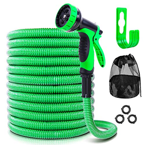 Garden Hose with 10-Function Spray Nozzle, Ohuhu 100 FT Patented Durable 3-Layer Expandable Water Hose with PVC Protective Film, Lightweight No-Kink Flexible Hose with Hose Holder & Storage Bag