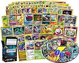 Ultimate Pokémon card bundle 100+ random cards= 100 cards + 5 foils, 5 rare cards, 5 foil/ holographic rare,2 V card or Gx card (200 HP or higher) + FREE Lightning Card Collection deck box