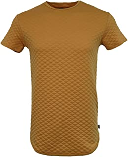 Men's Hipster Hiphop Quilted Scalloped Longline Crewneck T Shirt