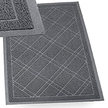 SlipToGrip - (Gray Universal Plaid Door Mat with DuraLoop - XL 42 x36  Outdoor Indoor Entrance Doormat - Waterproof - Low Profile Door Mat - Welcome - Front Door, Garage, Patio - Phthalate & BPA Free
