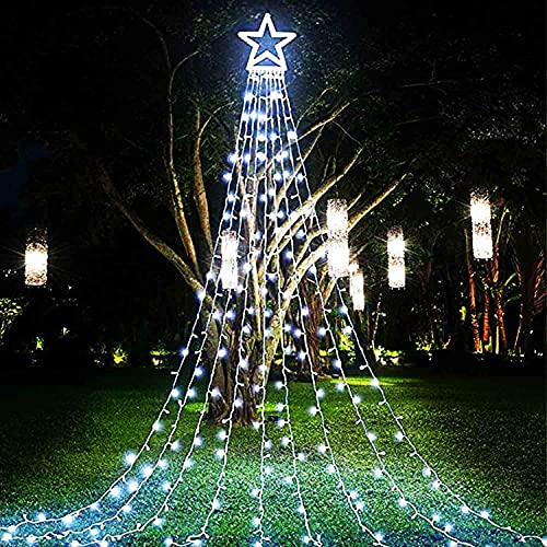 (Upgraded) FUNIAO Christmas Decoration Outdoor Star String Lights, 317 LED Christmas Tree Topper Lights with 12' Lighted Star for Halloween Christmas New Year Holiday Garden Yard (White)