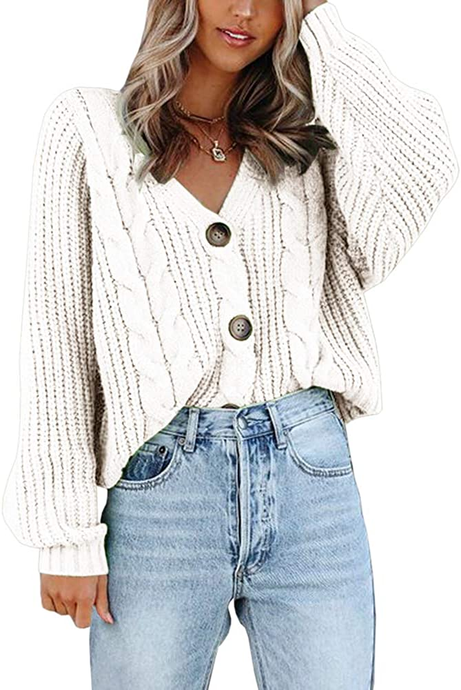 Womens Button Down Cable Knit Batwing Sweater Cardigans V Neck Long Sleeve Open Front Outwear