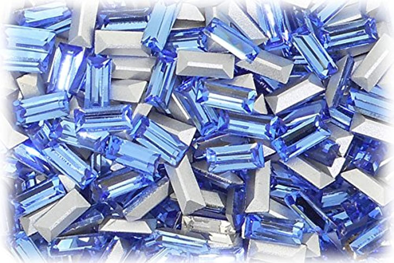 マントル評論家和SHAREKI CRYSTAL Vカット (チャトン) ラインストーン バケット (四角形)スカイ 3mmx7mm 4個入りx3セット=12個  sky-3x7