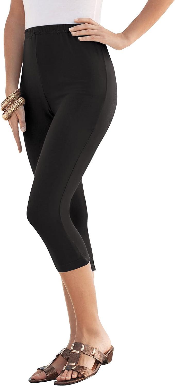 Roamans Women's Plus Size Essential Stretch Capri Legging Activewear Workout Yoga Pants