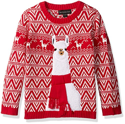 Blizzard Bay Big Boys Ugly Chrismas Sweater Animals, red/white/llama, 14-16 L