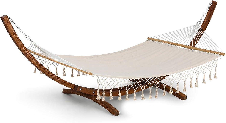 Blaumfeldt Bali TAS Swing Hngematte Schwingliege (Holzgestell aus Lrchenholz, Stoff aus 65% Baumwolle und 35% Polyester, Stylish Comfort, 160kg max. Belastbarkeit, 200x150 cm) cremefarben mit Quasten