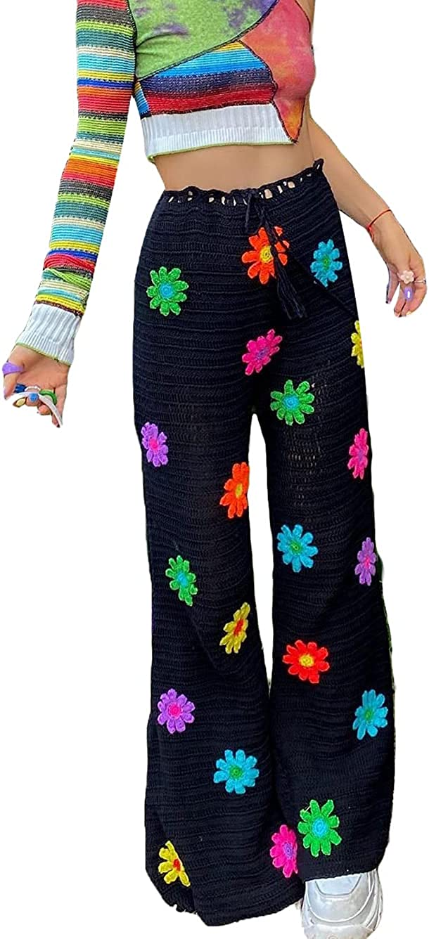 ICNGLKSND Women's Y2K Knitted Pants Casual High-Waist Elastic Flower Straight Pants Sexy Skinny Bottoms Trousers