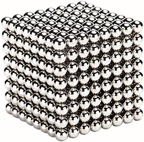 RQW Magnet Balls 512 Pieces 5 MM Beads Tactile Cube Great Gadget Office Creative Portable Toys Sculpture Building Blocks (Silver-5MM-512PCS)