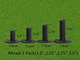 FINGER TEN Golf Rubber Tees Driving Range Value 3/4 Pack, Mixed or Same Size 1.5'' 2.25'' 2.75'' 3'' for Practice Mat (Black Mixed 4 Pack(1.5,2.25,2.75,3))