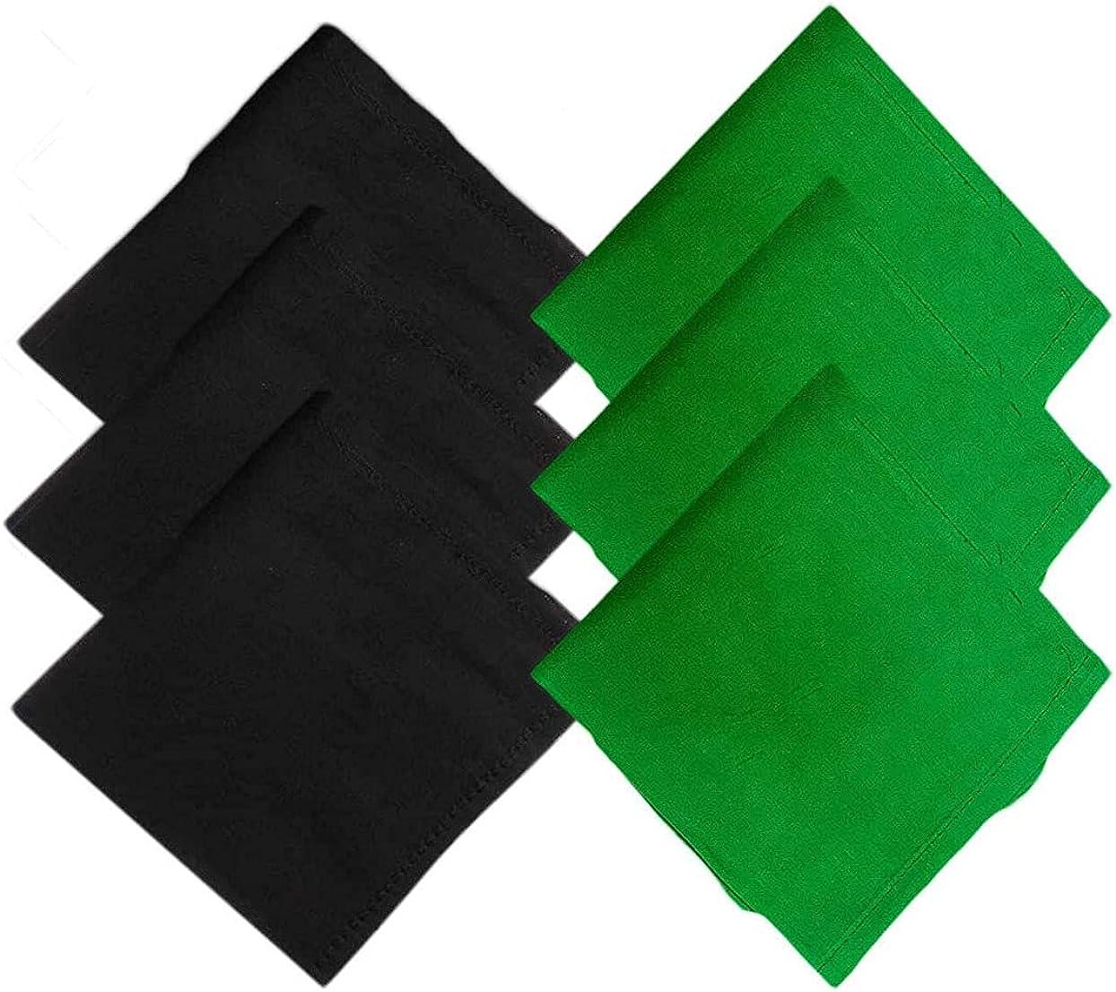 Kalagiri Cotton Premium Collection Black And Green Handkerchiefs Hanky Set For Men - Pack of 6 Pcs