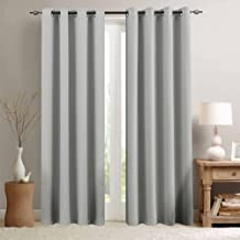 Grey Blackout Curtains for Bedroom 84 inches Long Triple Weave Window Curtain Panels for Living Room Darkening Boy Room Thermal Insulated Drapes, Grommet Top, 1 Pair, Gray
