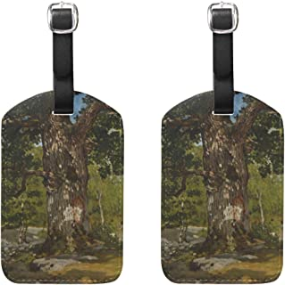 WIHVE Set of 2 Luggage Tags The Bodmer Oak Monet Art Oil Paintings Suitcase Labels Travel Accessories