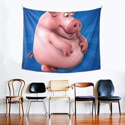 Tapiz de pared para mujer Tapiz de animación de cerdo interesante Chica 60x51 pulgadas (152x130cm) Arte para colgar en la pared Decoración del hogar Poliéster para sala de estar Dormitorio Dormitorio