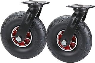YJJT Zwenkwielen, Stalen plaat wielen, Heavy-duty universele wiel, Solide, Met dubbele druklager, Stabiel rijden en stil, ...