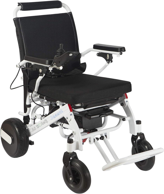 BJH Silla de Ruedas eléctrica Ligera Plegable, Silla de Ruedas eléctrica Plegable de la luz del Motor de 350W para discapacitados