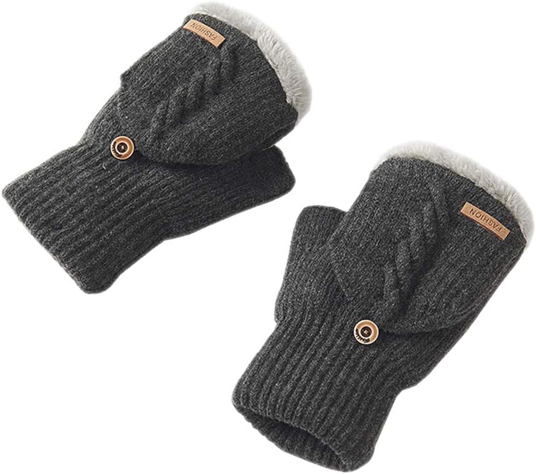 BIKMAN Men's Wool Knitted Fingerless Gloves Convertible Mitten with Thinsulate Lining