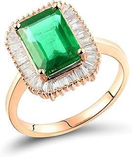 Daesar Anelli in Oro Rosa 18K, Anello Donna Fidanzamento Forma Rettangolare Smeraldo 2.36ct con Diamante 0.4ct Anello Oro ...