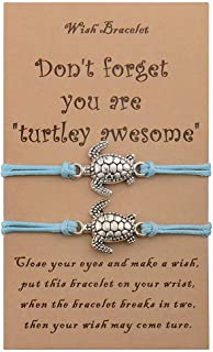 VGWON 2Pcs Sea Turtle Bracelet for Teen Girls Women Best Friend Adjustable String Bracelets Mother Daughter Friendship Jew...