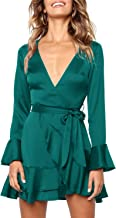 MITILLY Women's Sexy V Neck Backless Ruffle Long Sleeve Casual A Line Swing Mini Dress
