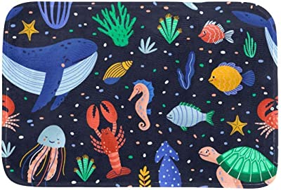EGGDIOQ Doormats Ocean World Sea Animals Custom Print Bathroom Mat Waterproof Fabric Kitchen Entrance Rug, 23.6 x 15.7in