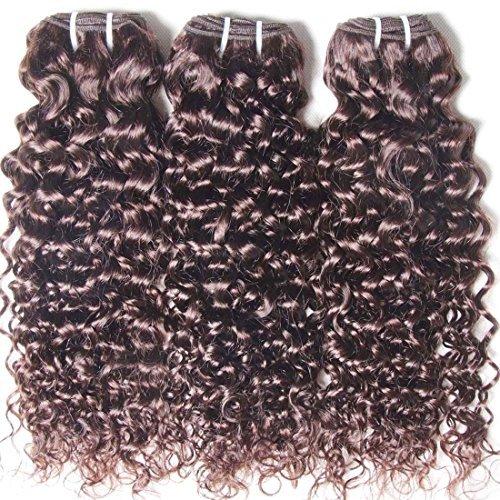 Extensions de cheveux Trames du tissage cheveux humains brésiliens vierges non Transformés 6 A Cheveux Bouclés 3 lots couleur Noir naturel Deal avec longueurs mixte (8 10 12, noir naturel)