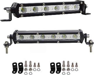 AUXTINGS 2 piezas 7 pulgadas 30 W ultra delgado una fila LED barra de luz de inundación con soporte de montaje para todoterreno Off-Road, Camión,Coche,ATV,SUV,Barco