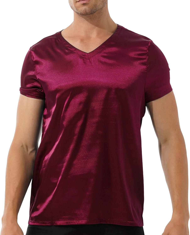 QinCiao Men's V Neck Short Sleeve Satin Casual T-Shirt Loose Pajamas Tops Sleepwear Nightwear