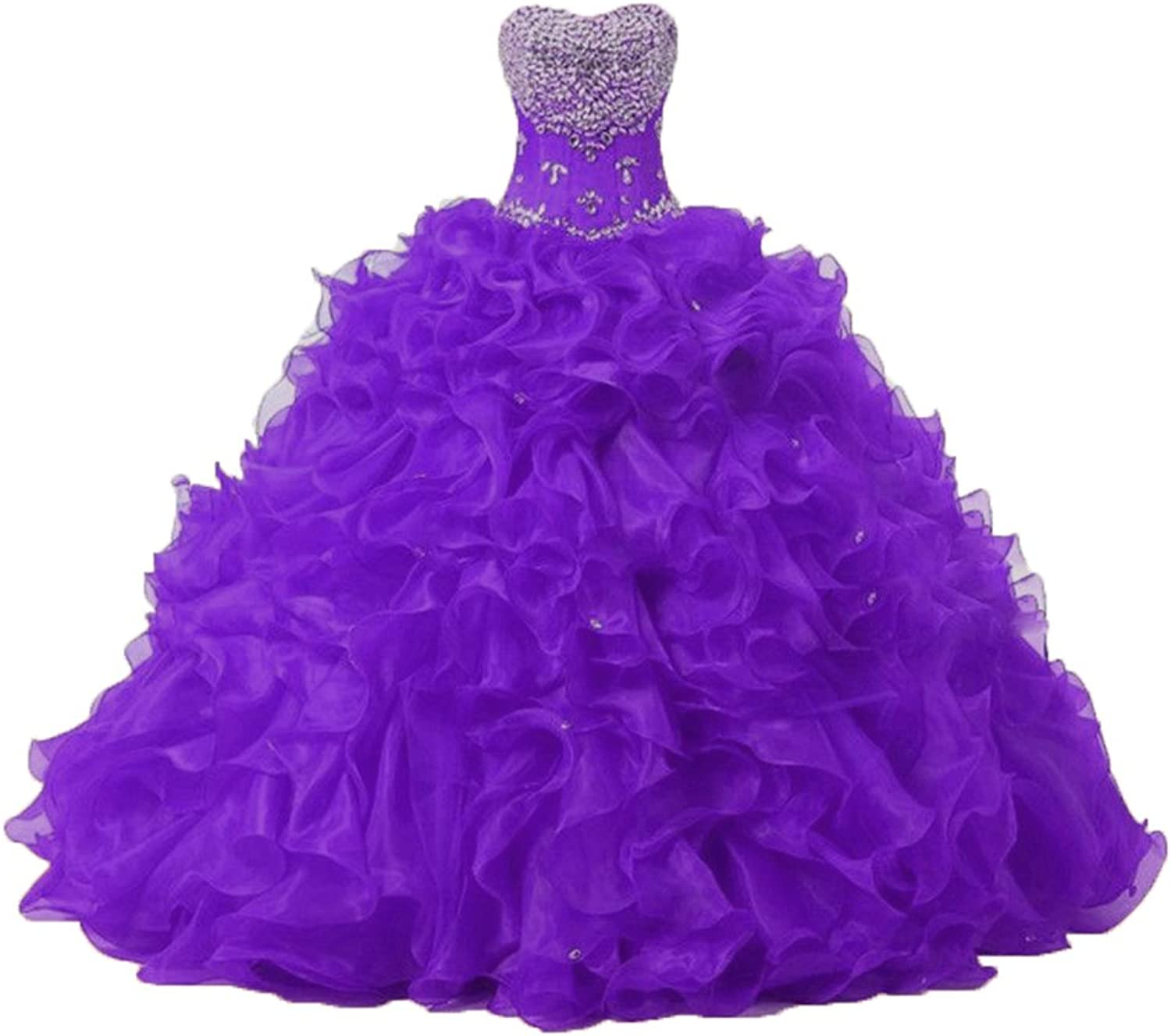Diandiai Women's Sweetheart Ball Gown Organza Quinceanera Dresses with Beads