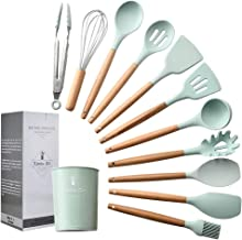 Silicone Cooking Utensil Set,esonmus 11pcs Kitchen Utensil Set with Holder and Wooden Handle,BPA Free,Non-stick,Heat Resis...