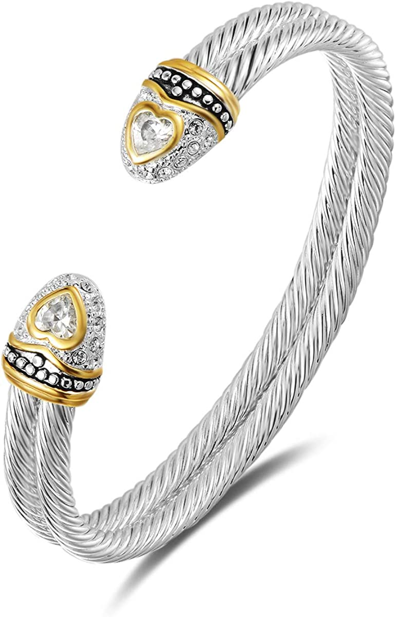 UNY Designer Inspired Jewelry Double Cable Wire CZ Antique Bangle Elegant Beautiful