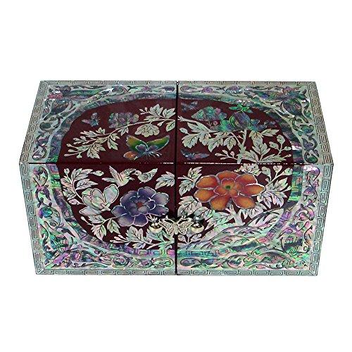 Madre de incrustaciones de perlas flor de peonía lacado madera cajón mujeres chica secreto joyas anillo pequeño tesoro de recuerdos Pendientes caja de regalo en el pecho organizador almacenamiento