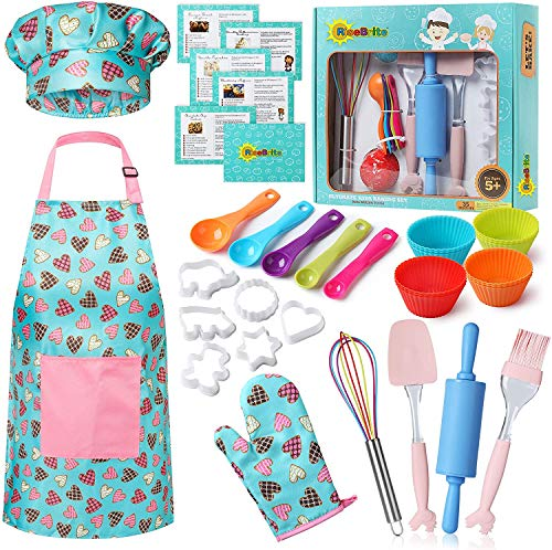 RISEBRITE Real Kids Baking Set for Girls – 35 Pcs Gift Set Includes Kids Apron, Chef Hat, Oven Mitt, Real Baking Tools and Recipes for The Curious Young Junior Chef (Pink Hearts)