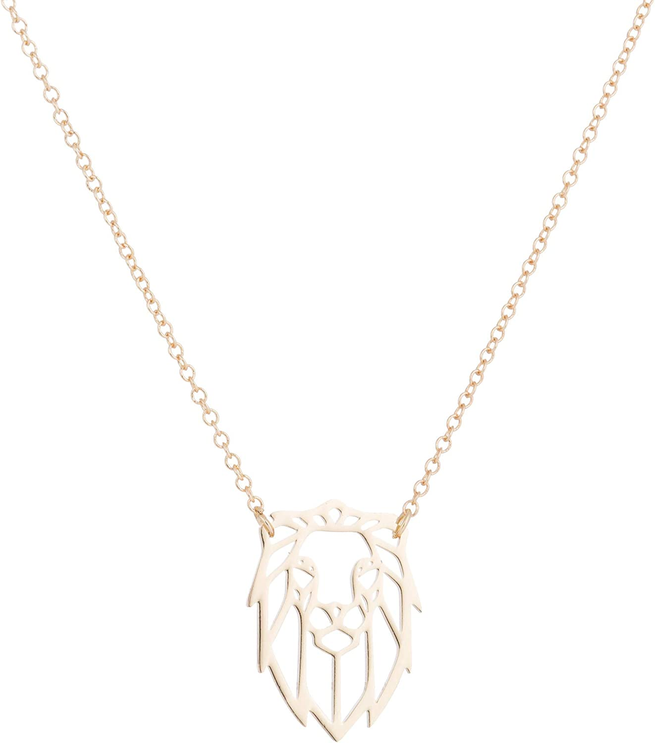 New Tiny Hollow Lion Head Stainless Steel Necklaces & Pendant for Women Animal Maxi Hiphop Collars