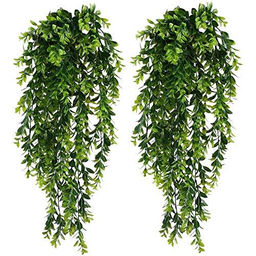 NEYOANN Plantas artificiales para colgar en el jardín, 2 unidades, plantas colgantes falsas, follaje sintético, plantas verdes para colgar en el jardín