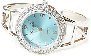 megko Fashion Women's Bangle Cuff Bracelet Analog Watch Crystal Round Dial Blue- Silver Tone