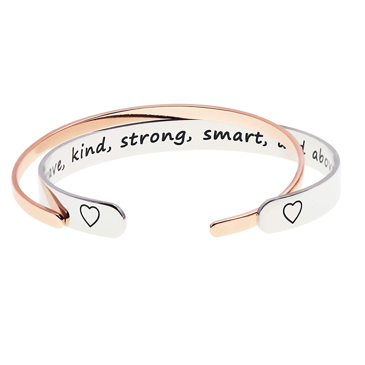 Melix Home Best Friend Encouragement Gift Bracelet You are Brave Kind Strong Smart and Above All Loved Inspirational Bracelets Recovery Gift Cuff Polished Finish