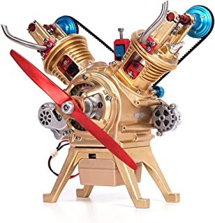 MAJOZ 2-Cylindres Maquette de Moteur - V2 Engine Moteur en Métal - Moteur Véhicule - Modèle de Moteur Assemblé