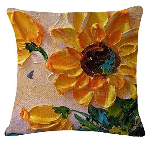 QINU KEONU Oil Painting Sunflower Cotton Linen Throw Pillow Case Cushion Cover Home Sofa Decorative 18 X 18 Inch£¨3£ ¡ (26)