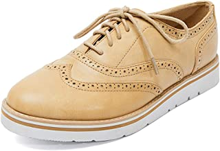 Susanny Classic Retro Pu Oxfords Brogue Shoes Women's Mid-Heel Wingtip Lace Up Dress Shoes