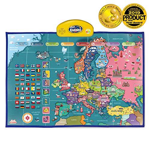 BEST LEARNING i-Poster Lernposter Weltkarte Europa – elektronisch, interaktiv, pädagogisch, sprechend, vorlesend – Hauptstädte, Länder, Sprachen und mehr Lernen [englischsprachige Version]