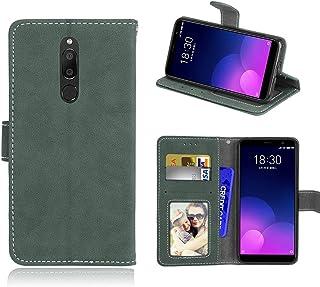För Meizu M6T/Meiblue 6T/Meilan 6T fodral, matt PU läder skydd 3 kortplatser plånbok flip fodral skal grön