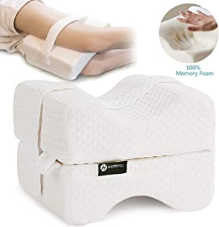 Slopehill Knee Pillow, 100% Memory Foam - Orthopedic Leg Positioner Pillows for Side Sleeper - Contoured Wedge Pillow with Adjustable Strap, Ideal for Sciatica Relief, Back Pain, Hip, Joint, 2X Cover