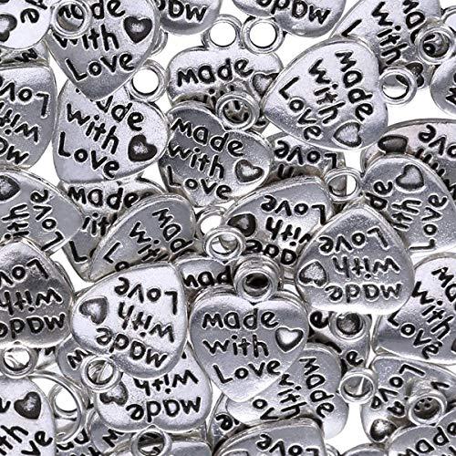 Colgantes de corazón con escultura de corazones para hacer manualidades, collares, pulseras, 50 unidades