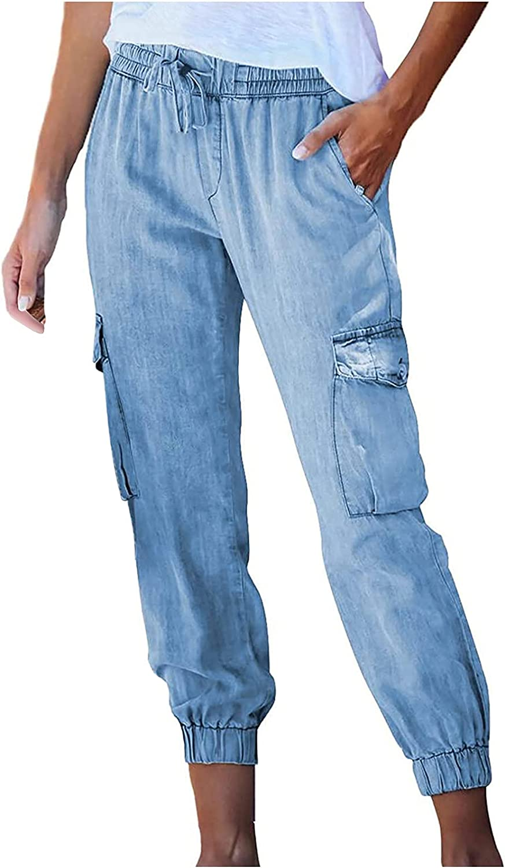 MIVAMIYA Capris for Women Pull-on Distressed Denim Joggers Drawstring Elastic Waist Cargo Pants Casaul Jeans with Pockets