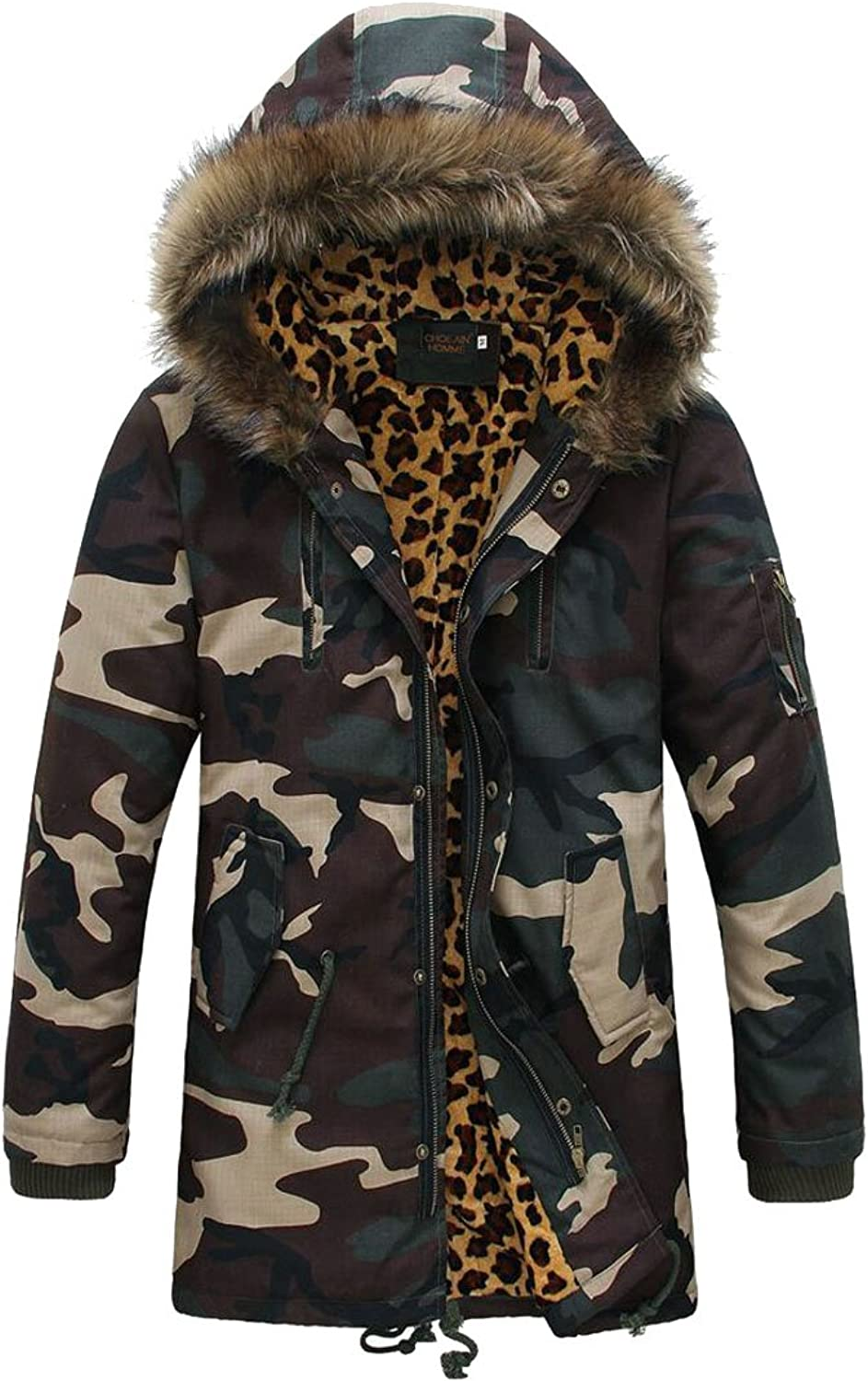 GAGA Mens Winter Camo Quilted Faux Fur Hooded Stand Collar Down Jacket Coat