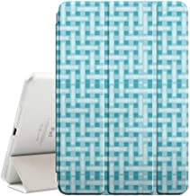Compatible with Apple iPad Air 2 (2nd Generation) - Leather Smart Cover + Hard Back Case with Sleep/Wake Function (Twill Weave Diagram Fabric)
