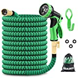 GAGALUGEC 50ft Expandable Garden Hose with 9 Function Nozzle, Leakproof Lightweight Retractable Water