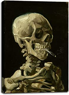 Skull of a Skeleton with Burning Cigarette, 1886 by Vincent Van Gogh - Canvas Prints Wall Art Pictures for Living Room Artwork Paintings Poster with Frame Home Decor Ready to Hang - 20
